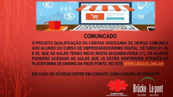 Cáritas inicia aulas do curso empreendedorismo digital em cinco municípios da diocese